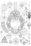 Doodles about Christmas decorative stuffs for adult coloring book pages and Christmas card invitation Stock Images