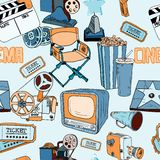 Doodles cinema color seamless_SimilarS Royalty Free Stock Photos