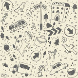 Doodles city background seamless pattern Stock Image