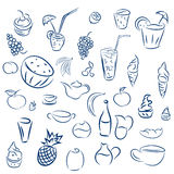 Doodles cocktails and desserts, fruits,coffee,alcohol, bar, drin Stock Images