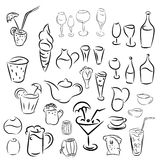 Doodles cocktails and desserts, fruits,coffee,alcohol, bar Royalty Free Stock Photos