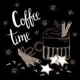 Coffee time text. Coffee, cinnamon and carnation vector illustration