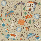Doodles color city objects background seamless pat Stock Images