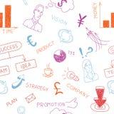 Doodles coloridos do negócio no papel. Illustr do vetor Imagem de Stock