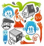 Doodles coloridos fijados stock de ilustración