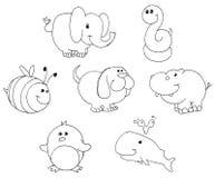Doodles contorneados del animal Imagenes de archivo
