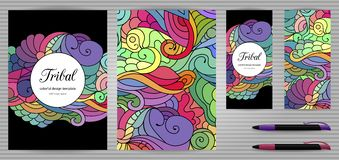 Doodles Corporate Identity and Stationery Templates Set . Colorful zentangle doodle design template. Ethnic tribal wavy  set Stock Photos