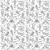 Doodles creative ideas black and white lines seamless pattern. Royalty Free Stock Photo