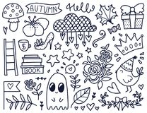 Vector black doodles. Doodles cute elements. Black vector items. Illustration with cloud and flowers, roses and leaves, hearts and stars. Design for prints and Stock Photo