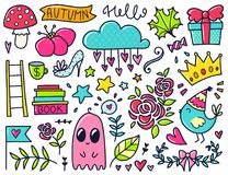 Vector color doodles. Doodles cute elements. Color vector items. Illustration with cloud and flowers, roses and leaves, hearts and stars. Design for prints and royalty free illustration