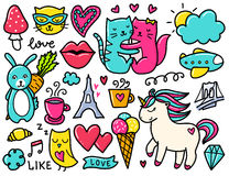 Doodles cute elements. Royalty Free Stock Images