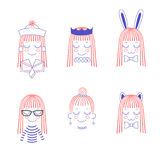 Doodles of cute girl faces with long hair, cat and rabbit ears,. Vector doodles of cute girl faces with long hair, cat and rabbit ears, bow ties, crown, pleated vector illustration