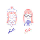Doodles of cute girl faces with long hair, sailor hat and collar Royalty Free Stock Images