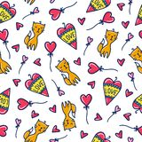 Doodles cute seamless pattern. Stock Images