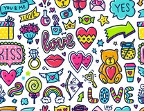 Doodles cute seamless pattern. Royalty Free Stock Photography