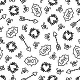 Doodles cute seamless pattern. Monochrome vector background. Illustration with hearts and arrows. Design for t-shirt, textile and prints. Valentine s day theme Royalty Free Stock Photos
