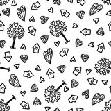 Doodles cute seamless pattern. Royalty Free Stock Photos