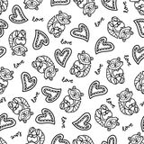 Doodles cute seamless pattern. Doodles cute romantic seamless pattern. Black vector background. Illustration with hearts and raccoons. Design for T-shirt Stock Images