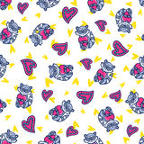 Doodles cute seamless pattern. Doodles cute romantic seamless pattern. Color vector background. Illustration with hearts and raccoons. Design for T-shirt Royalty Free Stock Images