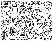 Doodles cute valentines elements Royalty Free Stock Photos