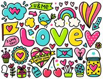 Doodles cute valentines elements Royalty Free Stock Image