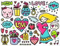 Doodles cute valentines elements Royalty Free Stock Photo