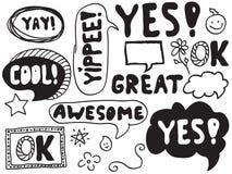 Doodles da bolha da palavra ilustração stock