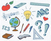 Doodles da escola Fotos de Stock
