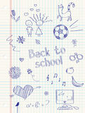 Doodles da escola Fotos de Stock Royalty Free