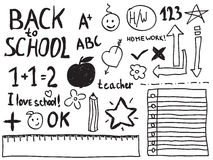 Doodles da escola Foto de Stock Royalty Free