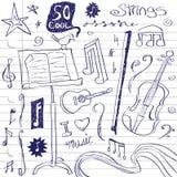 Doodles da música da corda ilustração do vetor