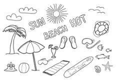 Doodles da praia. Imagens de Stock