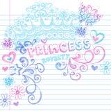 Doodles da princesa Coroa Tiara Esboçado Caderno Foto de Stock