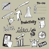 Doodles da produtividade Fotos de Stock Royalty Free