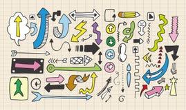 Doodles da seta Imagem de Stock