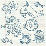Doodles da vida marinha Fotografia de Stock Royalty Free