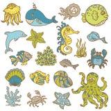 Doodles da vida marinha Imagem de Stock Royalty Free