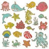Doodles da vida marinha Foto de Stock
