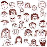 Doodles das faces Fotografia de Stock