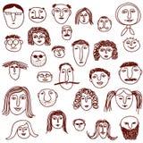Doodles das faces Fotografia de Stock
