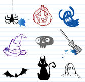 Doodles de Halloween Fotos de Stock Royalty Free