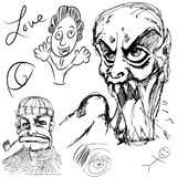 Doodles de la cara Fotos de archivo