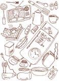 Doodles de la cocina Imagen de archivo libre de regalías