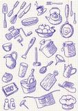 Doodles de la cocina Imagen de archivo