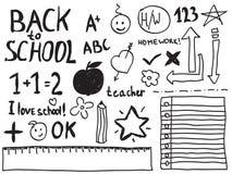 Doodles de la escuela Foto de archivo libre de regalías