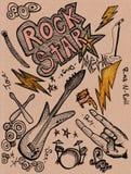Doodles de la estrella del rock ilustración del vector