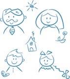 Doodles de la familia Imagen de archivo libre de regalías