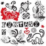 Doodles de la fantasía Imágenes de archivo libres de regalías