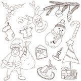Doodles de la Feliz Navidad Stock de ilustración