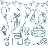Doodles de la fiesta de cumpleaños Foto de archivo libre de regalías